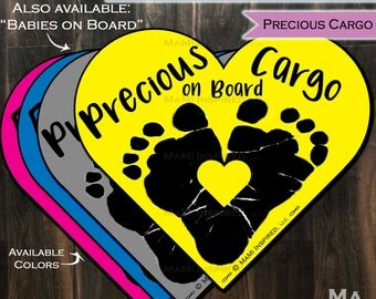 Precious Cargo on Board Babies on Board Baby Footprint Heart - Car Magnet Car Safety Child Parking Lot Kids Car Safety - Magnet - Reapply