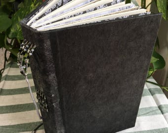 The Black & White One Handbound Journal - Bookmark with Lampwork Bead, Custom Envelopes