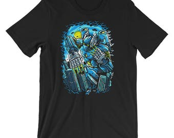 Must Destroy City Giant Robot Short-Sleeve Unisex T-Shirt