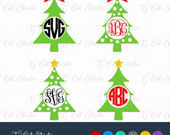 Christmas tree monogram, Christmas tree svg,  tree monogram with bow SVG, Svg Files for Silhouette Cameo or Cricut Commercial & Personal Use
