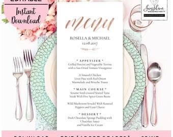 Wedding Menu Template, Rose Gold Menu Template, Wedding Menu Printable, Wedding Menu Cards, Table Menu, Menu Sign, PDF Instant Download