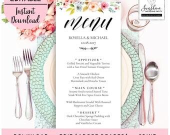 Wedding Menu Template, Floral Menu Template, Wedding Menu Printable, Wedding Menu Cards, Table Menu, Menu Sign, PDF Instant Download, menu