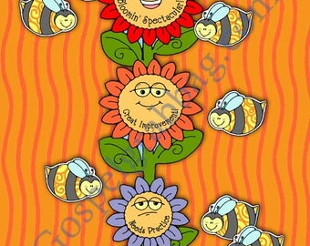 """Primary Music Singing Activity, """"Bee""""utiful Singers - singing meter and pick-a-song, make each song """"Bloomin' Spectacular!"""" music motivator"""