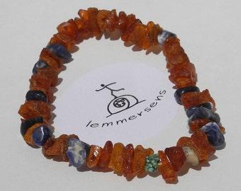 Sliver bracelet amber with lapis lazuli and turquoise