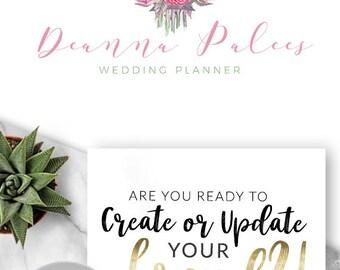 428 - Premade Logo, Logo Design, Branding, Blog, Business, Boutique, Shop, Brand, Wedding, Floral, Flowers, Roses