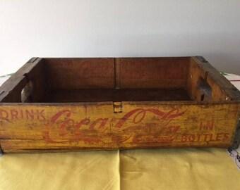 Vintage Coca Cola Wood Crate Box 1950s Vintage Home Decor Coke Box Coke Crate
