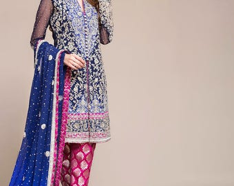 Zainab Chottani Navy Blue Floral - 3PC full Embroidered,Made to order (Master Replica)