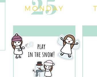 Play in the Snow Planner Stickers, Snow Ball Fight Planner Stickers, Snow Angel Planner Stickers, Build a Snowman Planner Stickers, Winter