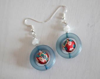 Chandelier statement Earrings: light blue, red, white