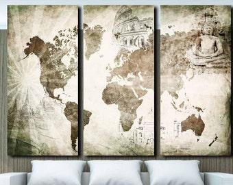 Wall Panel Art 3 panel world map | etsy
