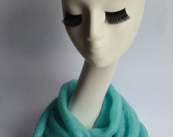 Thin Delicate Scarf/Elegant scarf in two turns/Loop/Endless Scarf without a Seam/Kid Mohair Knit Scarf/Gift for every occasion