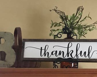 Thankful Sign - Thankful - Thanksgiving - Rustic Home Decor - Rustic Wooden Sign - Housewarming - Hand Painted Sign - Wood Sign - Wood Sign