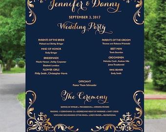 Wedding program sign, Calligraphy wedding program sign , Ceremony Program Sign, Wedding program fan poster, Poster wedding program, PR20-2