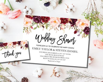 Wedding Shower Invitation, Fall Floral Bridal Shower Card, Couples Shower Invite, Editable Couple shower, Instant Download Wedding Shower #1