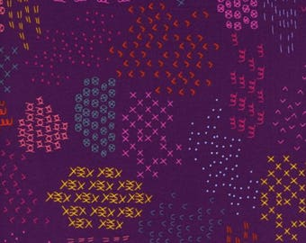 Cotton + Steel Macrame, Pattern Guides in Grape, 1931-02, Rashida Coleman-Hale, Purple Red and Pink Fabric, Multiple Patterns