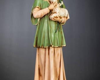 "Saint Agnes Statue | RARE Vintage St Martyr Figure | Polychromed Plaster | Religious Figurine | 17"" Large"