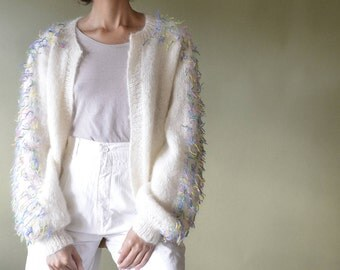 60s mohair hand knit cardigan with confetti thread detail // fits most