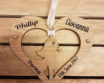 Wedding Gift idea Heart Bride and groom personalised rustic newly weds romanticism wood gift for wife present for husband weddings custom