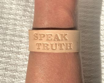"Leather Cuff Bracelet, ""Speak Truth"", Brass Hardware, Stamped Leather"
