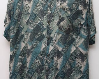 "Rare 90's Vintage ""ROBERT STOCK"" 100% Silk Short-Sleeve Abstract Patterned Shirt Sz: Large (Men's Exclusive)"