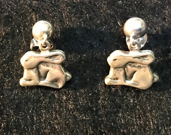 Vintage Sterling Silver Bunny Rabbit Post Earrings