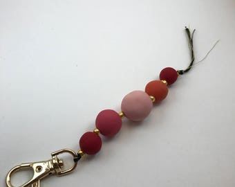 Pink Coral Beaded Keychain