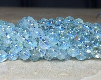 5.5mm Half or Full Strand Genuine Sky Blue Topaz Gemstone Round 5.5mm Loose Beads, Blue Topaz, Blue Topaz Beads