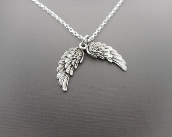 Sterling silver Angel Wing Necklace, , Angel necklace, Protection Necklace, Mourning Bereavement Necklace, Comfort necklace, Silver pendant