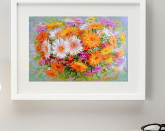 Original frolal Oil Painting Flower Bouquet in Vase Hand Painted Flowers Art Calendula Home Living room bedroom hall wall decor 7x11