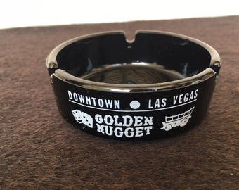 GOLDEN NUGGET HOTEL Ashtray - Vintage ashtray from Las Vegas, Nevada!  Flawless condition! 1960's?  Cool detail all sides!