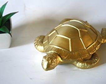 Serene Gold Sea Turtle Keepsake Cremation Urn