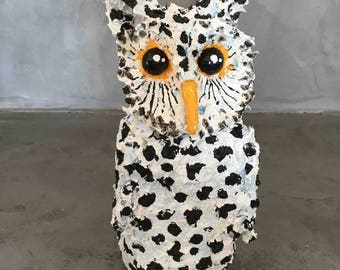 The OWL in 3D, paper mache and acrylic.