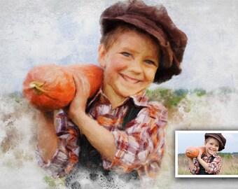 Portrait personnalisé, portrait peint d'après photo, tableau personnalisé, peinture à télécharger