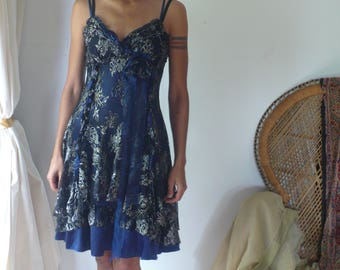 Vintage 90s Midnight Floral Lace Party Prom Mini Dress, I am the blue-lidded daughter of Sunset I am the naked brilliance of the night-sky.