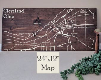 Cleveland Map Wall Art, Large Wooden Map, Cleveland City Map, Wooden Street Map, Custom Painted Map, House Address Map by Novel Maps