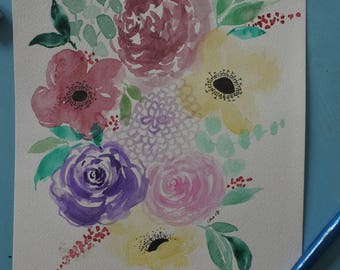 Peinture florale, carte de voeux personnalisable
