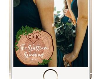Rustic Wedding Snapchat Filter, Rustic Wedding Snapchat Geofilter, Wedding Snapchat Geofilter, Wedding Filter, Wood Carving Geofilter
