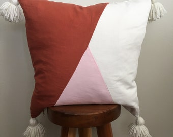 Modern linen and tassel pillow cover|Rust|Blush|White