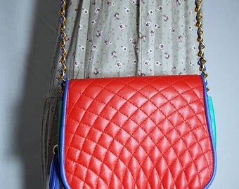 Handbag - colorful bag - purse -  party bag - clutch - gift item - Leather bag