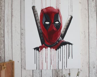Deadpool Painting - Original one of a kind hand painted on canvas