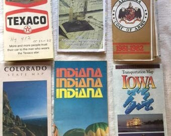 6 Vintage Maps.  Ideal for scrapbooking, art journaling, crafting, mixed media and collage.  OR for collection.