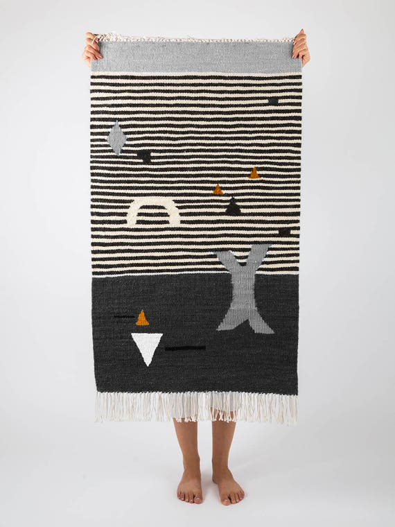 SHAPES ON STRIPES gray | Handwoven kilim