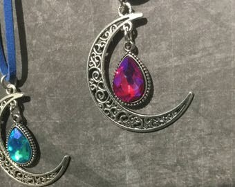 moon and star necklace/pagan jewelry/Wiccan jewelry/pagan/Wiccan/celestial/ moon/ stars/
