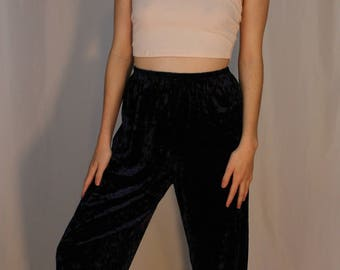 Black Crushed Velvet Pants