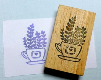 Plants in Tea Cup Rubber Stamp
