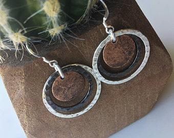 Abstract Circle Earrings, Balance Earrings, Mixed Metal Earrings, Hammered Circle Earrings, Sterling Silver Earring Hoop, Triple Circle