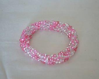 Crystal and Pink Beaded Bangle