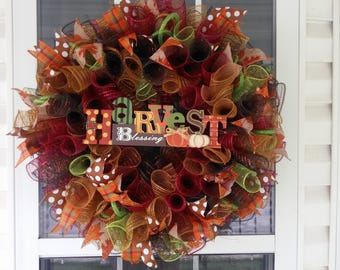 Fall Wreath/Fall Deco Mesh Wreath/Front Door Wreath/Fall Decorations/Thanksgiving Wreath~Ready to Ship~