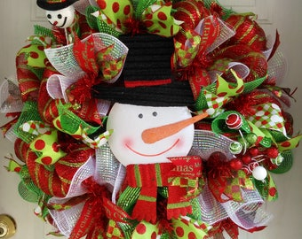 Snowman Wreath/Christmas Wreath/Christmas Door Wreath/Christmas Deco Mesh Wreath/Holiday Wreath/Christmas Decorations