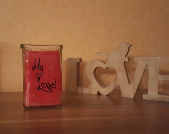 "Candle in a glass of ""My Love"" print decoration glass Lantern"